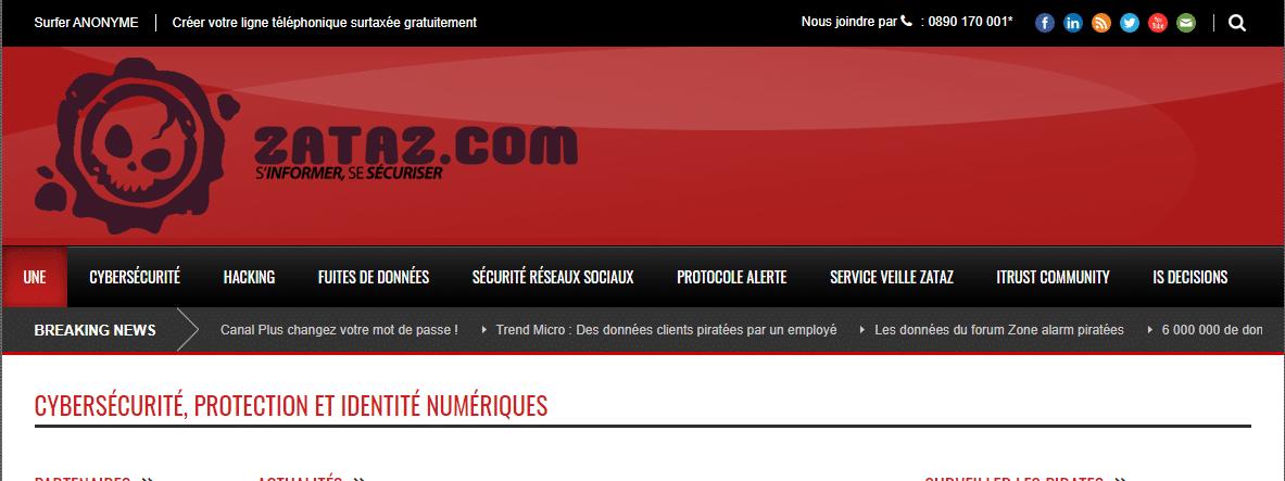 Capture d'écran du site Zataz