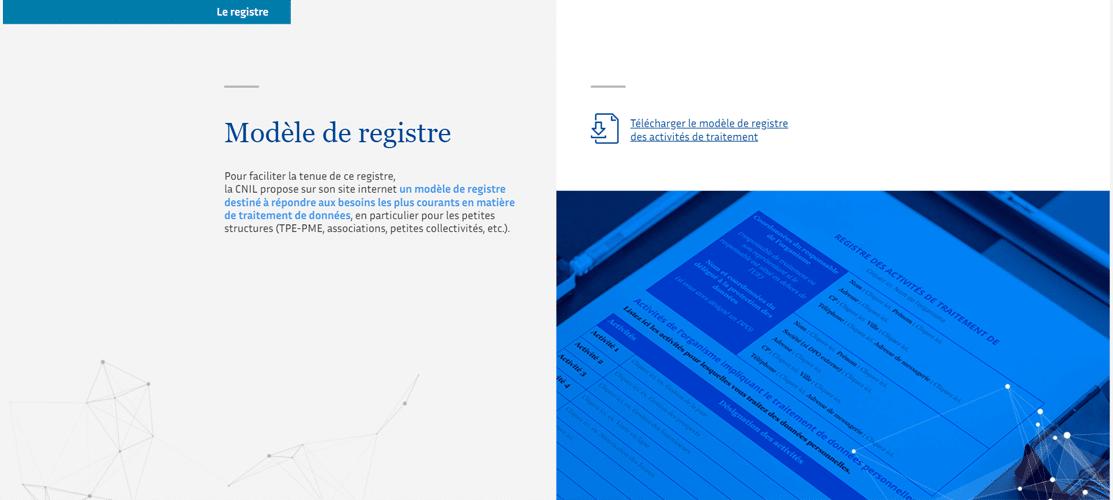 Registre du traitement des données par la CNIL pour le RPGD