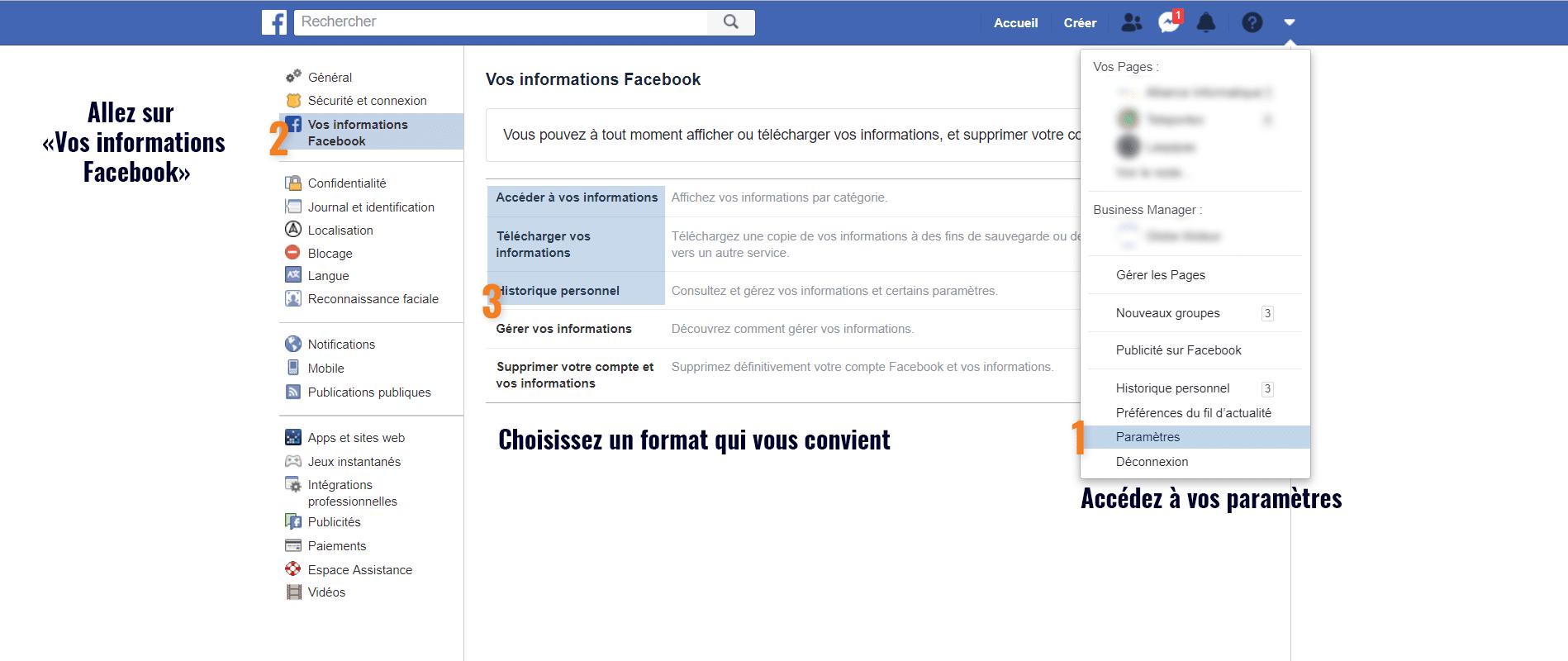 Tuto imagé pour obtenir ses données personnelles sur facebook