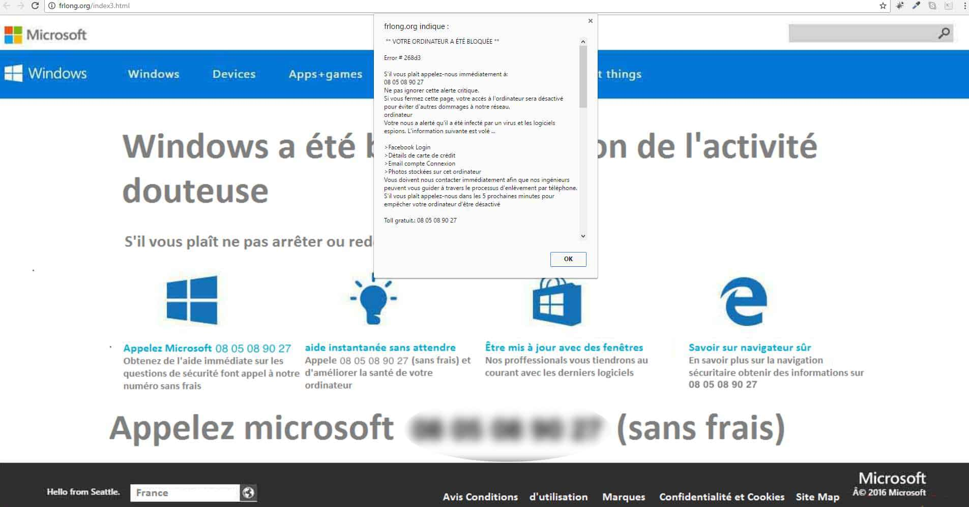 Exemple d'arnaque au faux support informatique