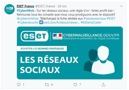 Tweet d'ESET France à propos de leur fiche pratique concernant les réseaux sociaux