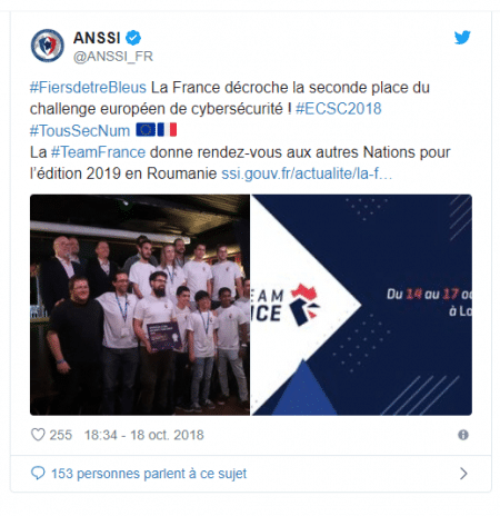 Tweet sur la seconde place de l'équipe de France