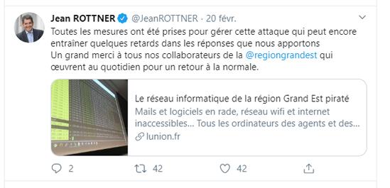 Capture d'écran du Tweet de Jean Rottner concernant la cyberattaque de la région Grand Est